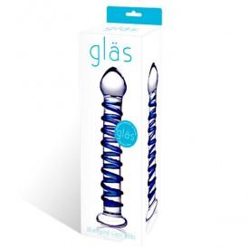 Стеклянный фаллоимитатор с голубой внешней спиралью - 18,5 см.